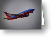 Jet Greeting Cards - Southwest Departure Greeting Card by Ricky Barnard