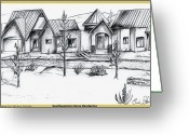 Residential Drawings Greeting Cards - Southwest Home Rendering Greeting Card by Eric  Schiabor