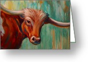 Livestock Painting Greeting Cards - Southwest Longhorn Greeting Card by Theresa Paden