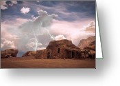 Strikes Mixed Media Greeting Cards - Southwest Navajo Rock House and Lightning Strikes Greeting Card by James Bo Insogna