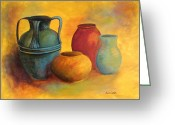 Vases Greeting Cards - Southwest Pottery Greeting Card by Anita Carden