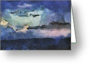 Sw Mixed Media Greeting Cards - Southwest Storm Greeting Card by Elaine Frink