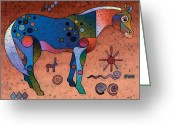 Surrealistic Painting Greeting Cards - Southwestern Symbols Greeting Card by Bob Coonts