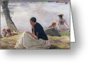 Contemplative Painting Greeting Cards - Souvenir Greeting Card by Emile Friant