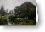 1796 Greeting Cards - Souvenir of the Villa Borghese Greeting Card by Jean Baptiste Camille Corot