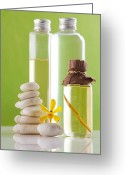 Merchandise Photo Greeting Cards - Spa oil bottles Greeting Card by Atiketta Sangasaeng