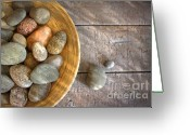 Perfection Greeting Cards - Spa rocks in wooden bowl on rustic wood Greeting Card by Sandra Cunningham