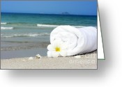 Beach Towel Photo Greeting Cards - Spa still-life Greeting Card by MotHaiBaPhoto Prints