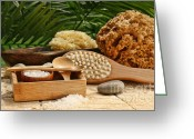 Body Scrub Greeting Cards - Spa still life with bath salt and brushes Greeting Card by Sandra Cunningham