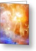 Glowing Moon Greeting Cards - Space 007 Greeting Card by Svetlana Sewell