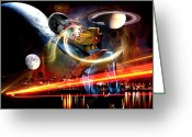 Stereo Greeting Cards - Space Age Greeting Card by Jay Reed