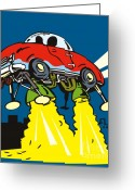 Illustration Greeting Cards - Space car taking off Greeting Card by Aloysius Patrimonio