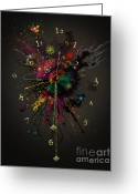 Clocks Digital Art Greeting Cards - Space Clock 1 Greeting Card by Bernie  Lee