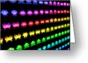 Arcade Digital Art Greeting Cards - Space Invaders Greeting Card by Michael Tompsett