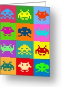 Pop Art Digital Art Greeting Cards - Space Invaders Squares Greeting Card by Michael Tompsett