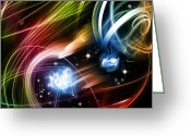 Explosion Photo Greeting Cards - Space Greeting Card by Les Cunliffe