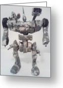 Science Fiction Sculpture Greeting Cards - Space Marine Battle Mech Greeting Card by Terrance Potts