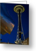 In Focus Greeting Cards - Space Needle after dark Greeting Card by Richard Mann