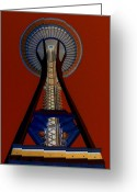 Iconic Architecture Greeting Cards - Space Needle Crimson Sky Greeting Card by Randall Weidner