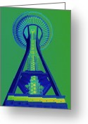 Iconic Architecture Greeting Cards - Space Needle Emerald Sky Greeting Card by Randall Weidner