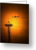Skyscraper Mixed Media Greeting Cards - Space Needle Greeting Card by Melisa Meyers