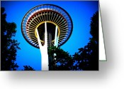 Iconic Architecture Greeting Cards - Space Needle Greeting Card by Randall Weidner