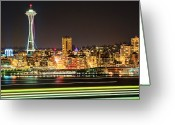 Seattle Waterfront Greeting Cards - Space Needle Greeting Card by Stephen Kacirek