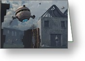 Exploration Digital Art Greeting Cards - Space Probes And Androids Survey An Greeting Card by Mark Stevenson