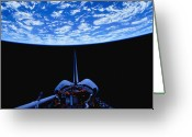 Space Travel Greeting Cards - Space Shuttle And Earth Greeting Card by Stocktrek