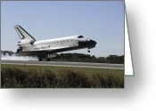 Touchdown Greeting Cards - Space Shuttle Atlantis Touches Greeting Card by Stocktrek Images