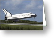 Touchdown Greeting Cards - Space Shuttle Discovery Lands On Runway Greeting Card by Stocktrek Images