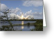 Spacecraft Greeting Cards - Space Shuttle Discovery Liftoff Greeting Card by Stocktrek Images