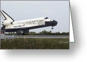 Touchdown Greeting Cards - Space Shuttle Discovery Touches Greeting Card by Stocktrek Images