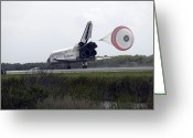 Touchdown Greeting Cards - Space Shuttle Discoverys Drag Chute Greeting Card by Stocktrek Images