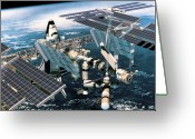 Shuttle Greeting Cards - Space Shuttle Docked At The Space Station In Outer Space Greeting Card by Stockbyte