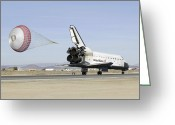 Touchdown Greeting Cards - Space Shuttle Endeavour With Its Drag Greeting Card by Stocktrek Images