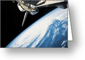 Nebula Greeting Cards - Space Shuttle In Outer Space Greeting Card by Stockbyte