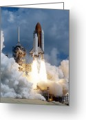 Taking Off Greeting Cards - Space Shuttle Launching Greeting Card by Stocktrek Images