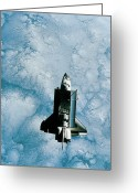 Shuttle Greeting Cards - Space Shuttle Orbiting Above Earth Greeting Card by Stockbyte