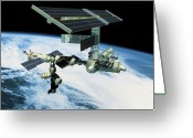 Space.planet Greeting Cards - Space Station In Orbit Greeting Card by Stockbyte