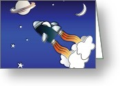 Kid Greeting Cards - Space travel Greeting Card by Jane Rix