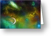 Liquid Greeting Cards - Space001 Greeting Card by Svetlana Sewell