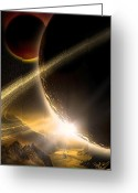 Glowing Moon Greeting Cards - Space002 Greeting Card by Svetlana Sewell