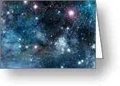 Glowing Star Greeting Cards - Space003 Greeting Card by Svetlana Sewell