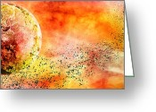 Solar Eclipse Mixed Media Greeting Cards - Space013 Greeting Card by Svetlana Sewell