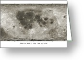 Lunar Mare Greeting Cards - Spacecraft On The Moon, Lunar Map Greeting Card by Detlev Van Ravenswaay