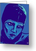 Science Fiction Drawings Greeting Cards - Spaceman in Blue Greeting Card by Giuseppe Cristiano