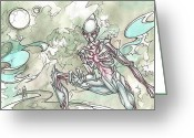 Aliens Drawings Greeting Cards - Spaces Greeting Card by Danielle Sobol