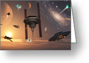 Bizarre Digital Art Greeting Cards - Spaceships Used By Different Alien Greeting Card by Mark Stevenson