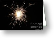 Pyrotechnics Greeting Cards - Spangle Greeting Card by Susan Herber
